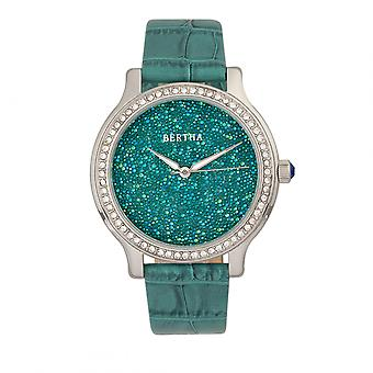 Bertha Cora Crystal-Encrusted lederen-Band Watch - groenblauw