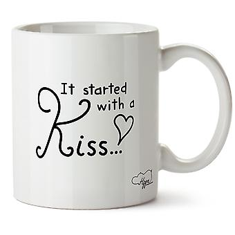 Hippowarehouse It Started With A Kiss Printed Mug Cup Ceramic 10oz