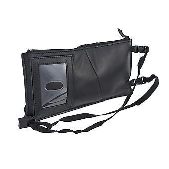 Black Leather Neck Strap Passport Holder Travel