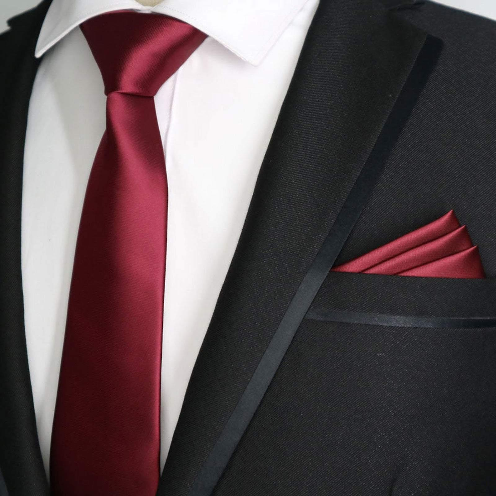 Red wine solid satin finish slim tie & pocket square