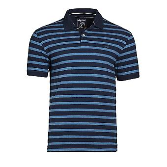 Textured Stripe Polo - Indigo
