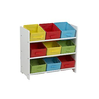 White Wooden Shelf Unit Cabinet with 3 Shelves and 9 Fabric Storage Boxes