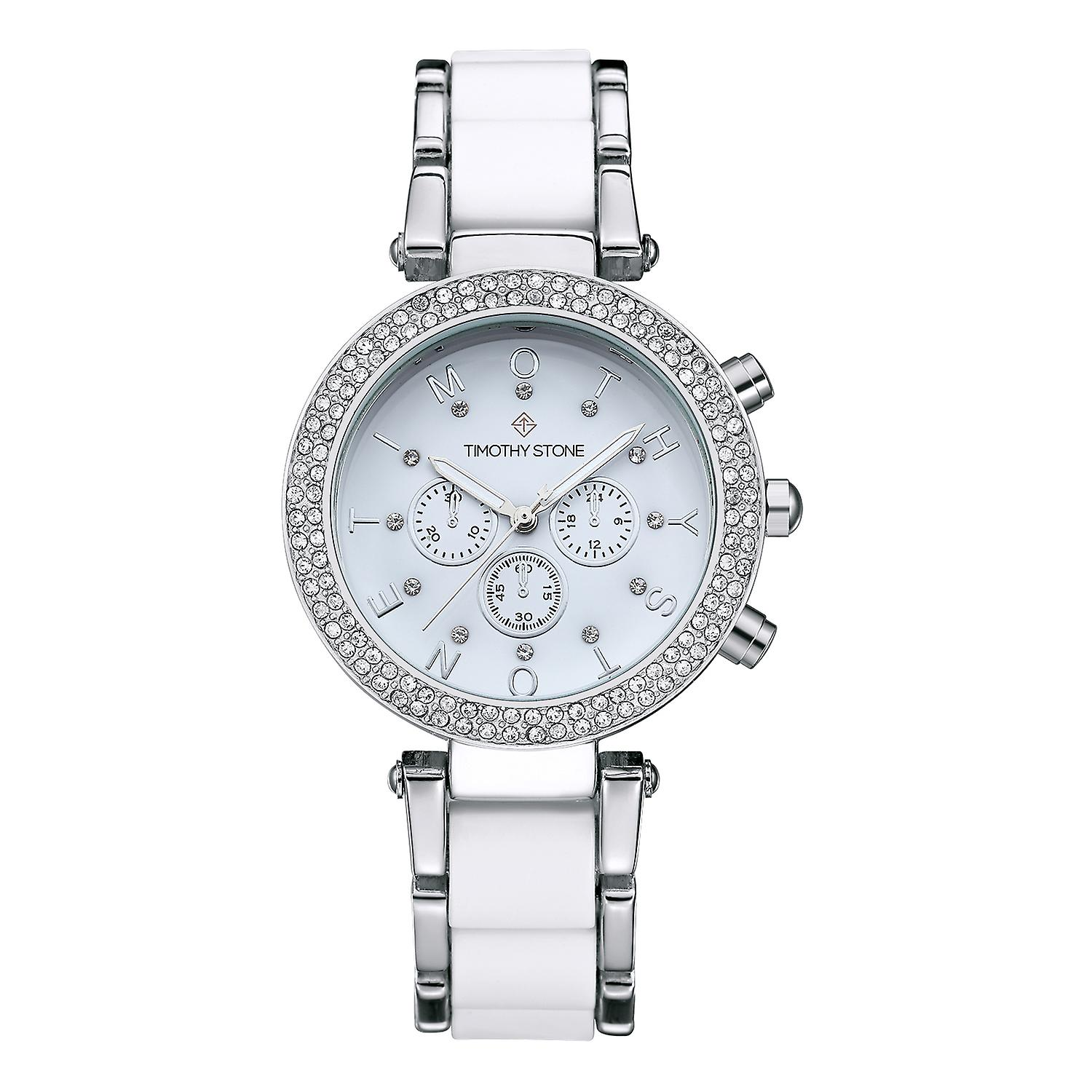 Timothy Stone Women's D�SIRE-BICOLOR Silver-Tone and White Watch