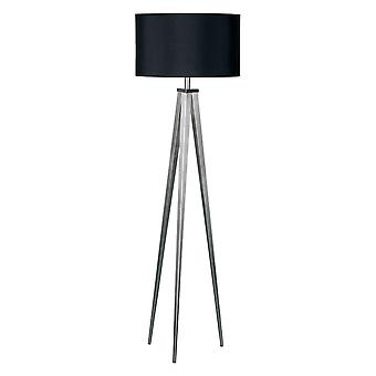 Fusion Living Satin Nickel Large Tripod Floor Lamp With Black Shade