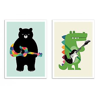 2 Art-Posters - Duo Musician animals - Andy Westface
