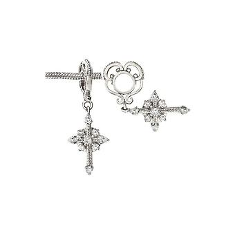 Storywheels Silver & Diamond Cross Dangle Charm S027D