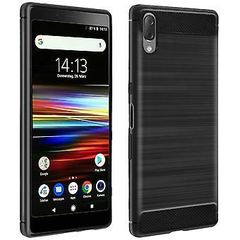 Fibra de carbono caso escudo para Sony Xperia L3-preto