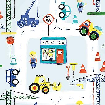 Kinder Builder Wallpaper Trucks Diggers Crane Cars Road Works Kinderzimmer