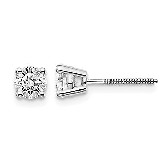 2/3 Carat (ctw VS2-SI1, D-E-F) Lab Grown Diamond Solitaire Stud Earrings in 14K White Gold with Screwbacks