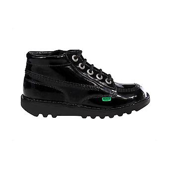 Kickers Kick Hi Patent Leather Junior Girls Kids School Fashion Shoe Boot Noir