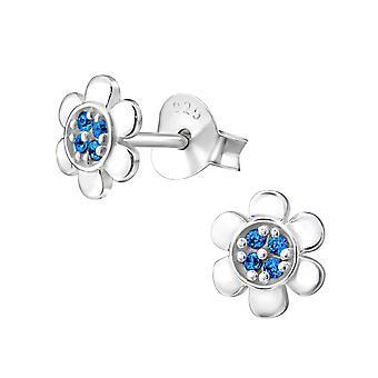Цветок - 925 стерлингового серебра кубического циркония уха шпильки - W34878x