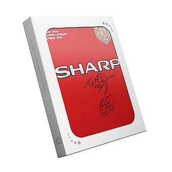 Teddy Sheringham en Ole-Gunnar Solskjaer ondertekend 1999 Manchester Verenigd Champions League Shirt In geschenkdoos