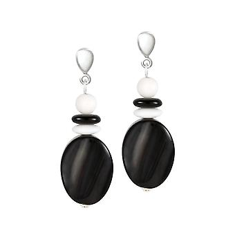 Ewige Sammlung Silhouette schwarz und weiß Halb kostbare Scheibe Tropfen durchbohrte Ohrringe