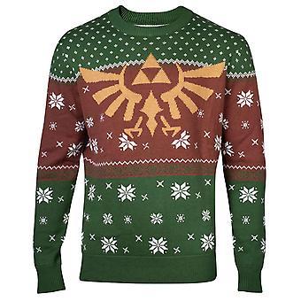 Zelda Christmas Jumper Sweater Golden Hyrule Logo new Official Mens Knitted
