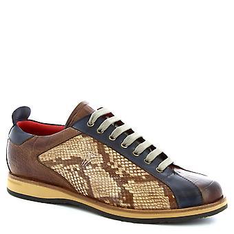 Leonardo skor män ' s handgjorda spetsad skor Brandy blå läder krokodil Print