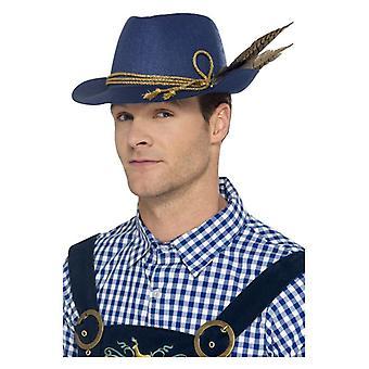 Oktoberfest bavarois authentique chapeau, bleu, avec des plumes Fancy Dress accessoire
