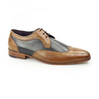 Gucinari Mille Mens Leather Contrast Derby Brogues Tan/navy