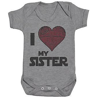 I Love My Sister Star Heart - Baby Bodysuit