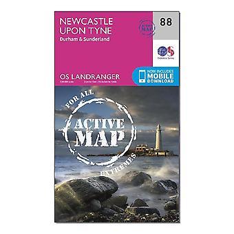 New OS Landranger Active 88 Newcastle upon Tyne Durham & Sunderland Map Orange