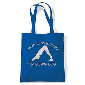 Ned Dog yoga tote | Yoga Yogi Sutra mantra Stress Relief slappe pose | Gjenbrukbare shopping Cotton Canvas Long håndtert Natural shopper miljøvennlig mote