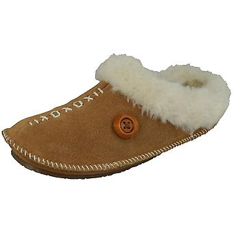 Ladies Freestep Slip On Faux Suede Warm Lined Slippers With Stitch Detail