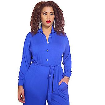 Women's Cocktail Button Down Wide Leg Jumpsuit with Pockets - Plus Sizes (Roy...