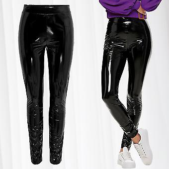 Womens Latex Wetlook Leggings Vinyl Optics Pants Shiny Patent Trousers Skinny