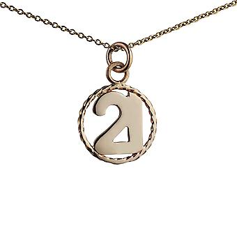 9ct Gold 17mm number 21 in twisted wire circle Pendant with a 1.1mm wide cable Chain 20 inches