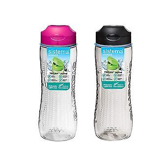 Sistema Set of 2 Tritan Active Bottles 800ml Black and Pink
