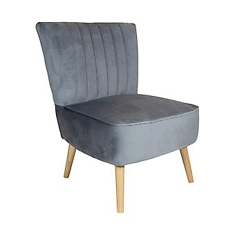 Charles Bentley Velvet Cocktail Occasion Accent Chair- Grey Solid Wood Legs Lounge Bedroom Dressing Room Hallway  W59 x D48 x H44 (cm)