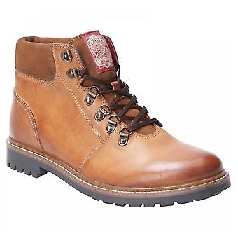 Base London Mens Fawn Tan Burnished Leather Lace Up Hiking Trail Boots