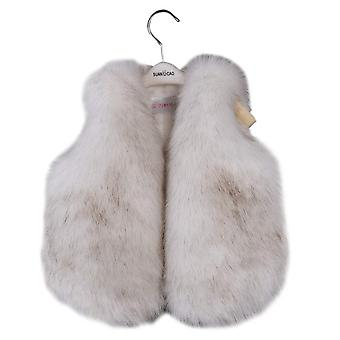 benetia Girls Waistcoat Faux Fur Vest White Size 5