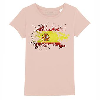 STUFF4 Girl's Round Neck T-Shirt/Spain/Spanish Flag Splat/Coral Pink