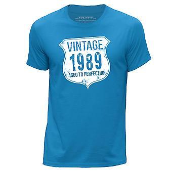 STUFF4 Men's Round Neck T-Shirt/ Vintage Born In 1989/Blue