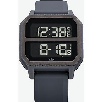 Adidas Originals Uhr Z16-632-00 - ARCHIVE-R2 Silikon grau Armband Box Stahl grau Carr Männer/Frauen