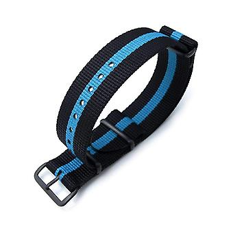 Strapcode n.a.t.o watch strap miltat 22mm g10 nato bullet tail watch strap, ballistic nylon, pvd - black & sky blue stripes
