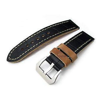 Strapcode التماسيح الحبوب ووتش حزام 22mm miltat antipode ووتش حزام غير لامع كروكالف أسود في غرز اليد الرمادية