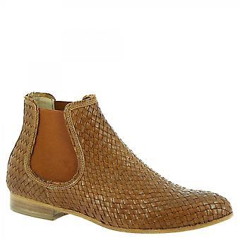 Zapatos Leonardo Botines Mujeres's botines hechos a mano en piel de becerro tejida marrón