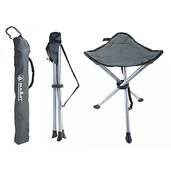 Summit Folding Camping Tripod Stool With Carry Bag Grey