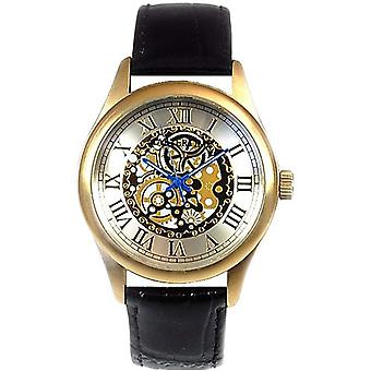 Mastertime Analogue Visible Mechanical Look Black Leather Strap Mens Watch