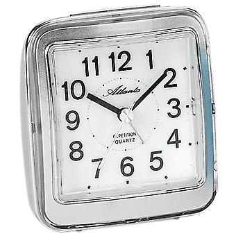 Atlanta 1772/19 alarm clock quartz analog silver quietly without ticking with light Snooze