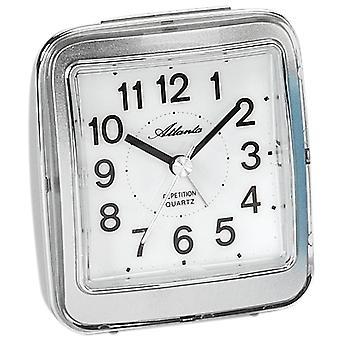 Atlanta 1772/19 herätyskello kvartsi analoginen silver hiljaa ilman tikittää valoa Snooze
