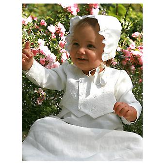 Christening Gown For Boys,  Grace Of Sweden, With Brocade Vest And Bonnet