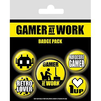 Gaming Gamer At Work Pin Button Badges Set