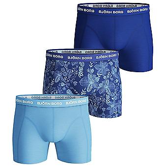 Bjorn Borg 3 Pack Sammy BB Fiji Flower Cotton Stretch Shorts, Surf The Web, X-Large