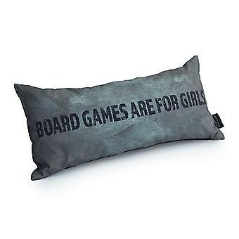 Jogos de jogo sobre jogos de tabuleiro são para o slogan meninas - prata | Almofada para Jogos | Migalha de espuma enchida | Resistente à água | Roupa de cama e sofá | Home D cor
