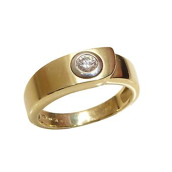 Gold cachet ring with diamond