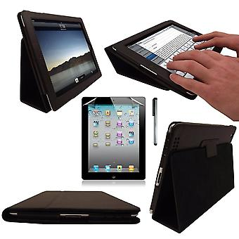 InventCase Apple iPad 2/3/4 9.7 inch Smart Multi-Functional PU Leather Case Cover - Black
