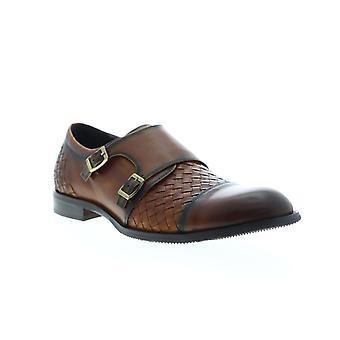 Zanzara Mahler  Mens Brown Leather Casual Monk Strap Shoes