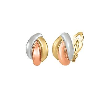 Eternal Collection Couture Classic High Gloss Three Tone Gold Clip On Earrings